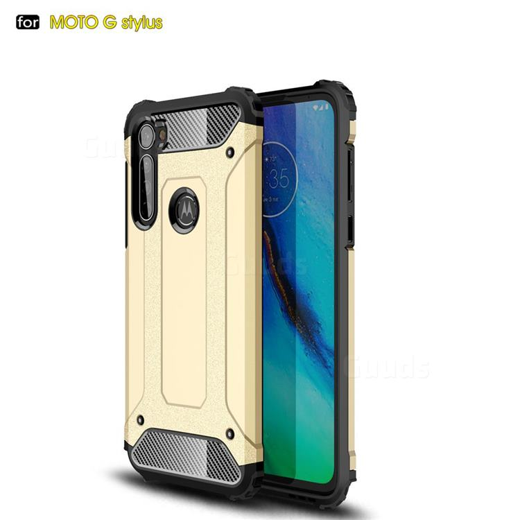 King Kong Armor Premium Shockproof Dual Layer Rugged Hard Cover for Motorola Moto G Stylus - Champagne Gold
