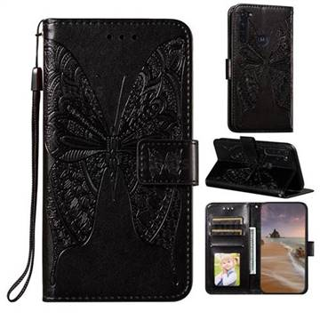 Intricate Embossing Vivid Butterfly Leather Wallet Case for Motorola Moto G Stylus - Black
