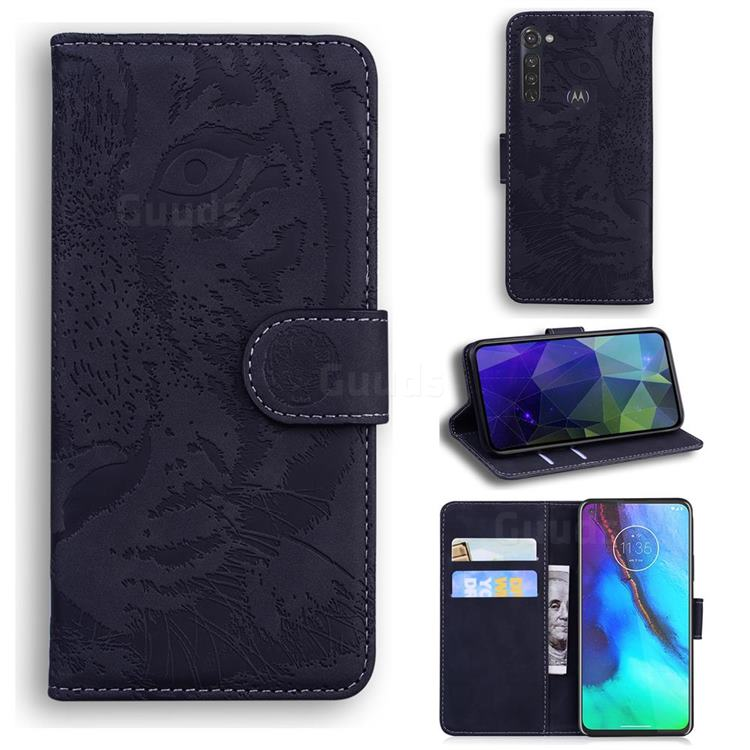 Intricate Embossing Tiger Face Leather Wallet Case for Motorola Moto G Stylus - Black