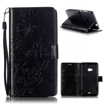 Embossing Butterfly Flower Leather Wallet Case for Microsoft Lumia 535 / Lumia 535 Dual SIM Nokia Lumia 535 - Black