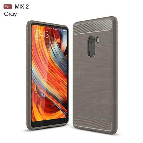 Luxury Carbon Fiber Brushed Wire Drawing Silicone TPU Back Cover for Xiaomi Mi Mix 2 (Gray)