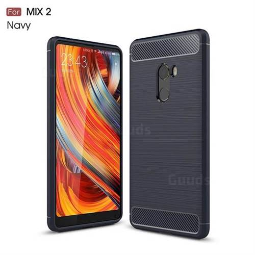 Luxury Carbon Fiber Brushed Wire Drawing Silicone TPU Back Cover for Xiaomi Mi Mix 2 (Navy)