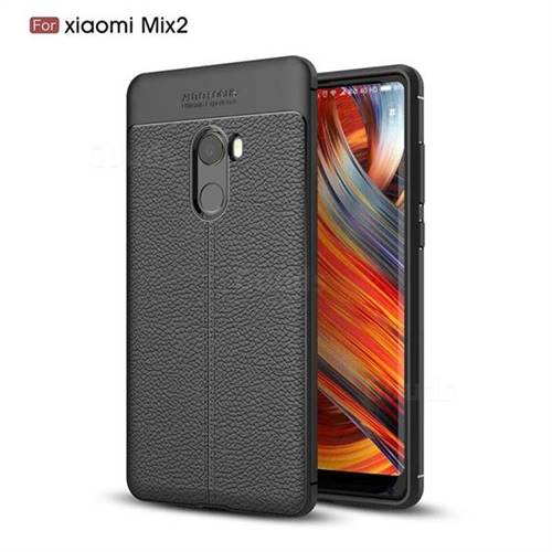 Luxury Auto Focus Litchi Texture Silicone TPU Back Cover for Xiaomi Mi Mix 2 - Black