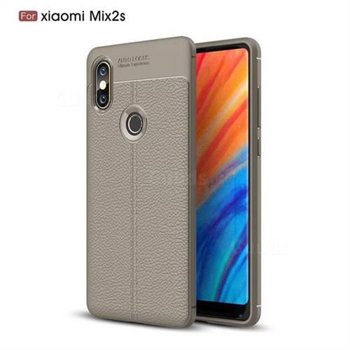 Luxury Auto Focus Litchi Texture Silicone TPU Back Cover for Xiaomi Mi Mix 2S - Gray