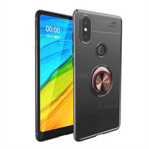 Auto Focus Invisible Ring Holder Soft Phone Case for Xiaomi Mi Mix 2S - Black Gold