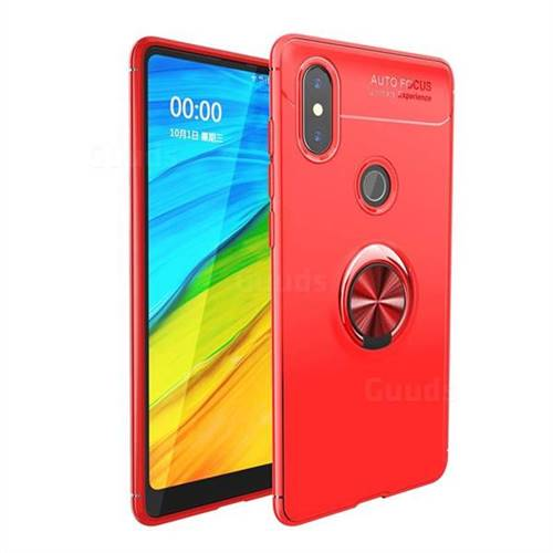 Auto Focus Invisible Ring Holder Soft Phone Case for Xiaomi Mi Mix 2S - Red