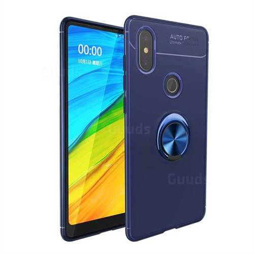 Auto Focus Invisible Ring Holder Soft Phone Case for Xiaomi Mi Mix 2S - Blue