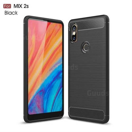 Luxury Carbon Fiber Brushed Wire Drawing Silicone TPU Back Cover for Xiaomi Mi Mix 2S - Black