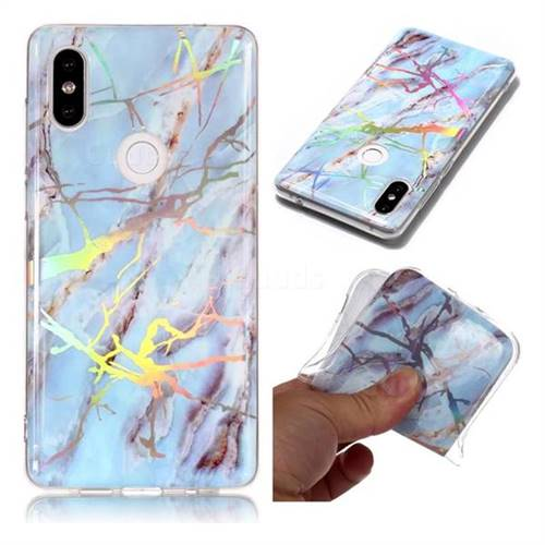 Light Blue Marble Pattern Bright Color Laser Soft TPU Case for Xiaomi Mi Mix 2S