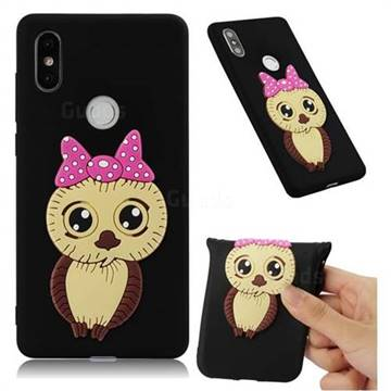 Bowknot Girl Owl Soft 3D Silicone Case for Xiaomi Mi Mix 2S - Black