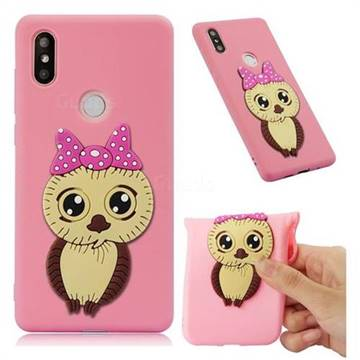 Bowknot Girl Owl Soft 3D Silicone Case for Xiaomi Mi Mix 2S - Pink