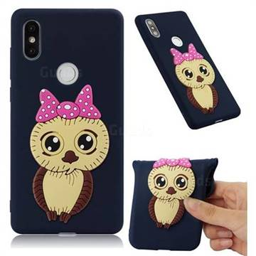 Bowknot Girl Owl Soft 3D Silicone Case for Xiaomi Mi Mix 2S - Navy
