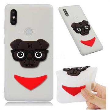 Glasses Dog Soft 3D Silicone Case for Xiaomi Mi Mix 2S - Translucent White