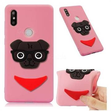 Glasses Dog Soft 3D Silicone Case for Xiaomi Mi Mix 2S - Pink