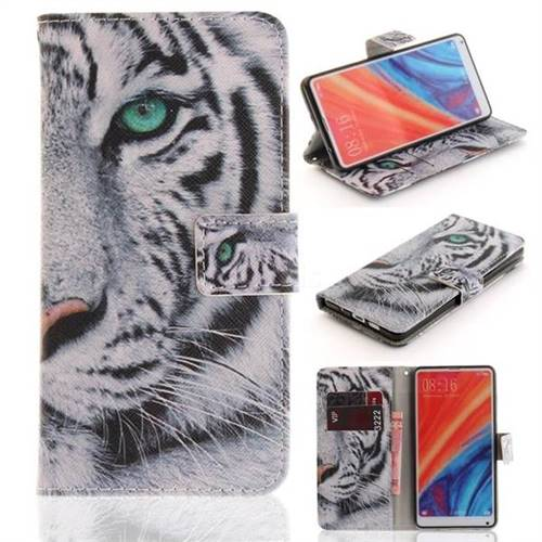 White Tiger PU Leather Wallet Case for Xiaomi Mi Mix 2S