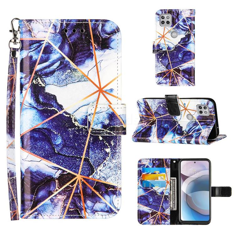 Starry Blue Stitching Color Marble Leather Wallet Case for Motorola One 5G Ace