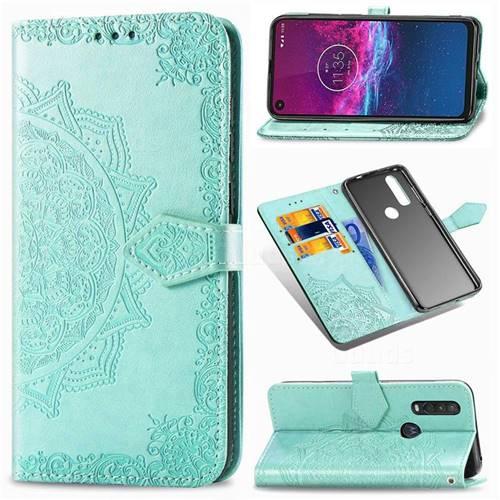 Embossing Imprint Mandala Flower Leather Wallet Case for Motorola One Action - Green