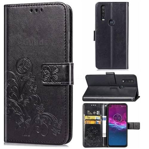 Embossing Imprint Four-Leaf Clover Leather Wallet Case for Motorola One Action - Black