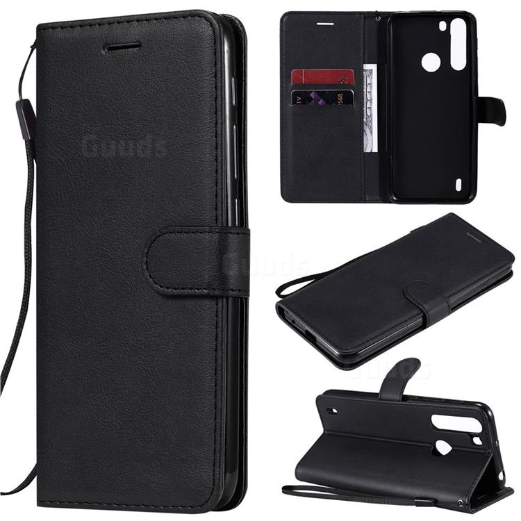 Retro Greek Classic Smooth PU Leather Wallet Phone Case for Motorola Moto One Fusion - Black