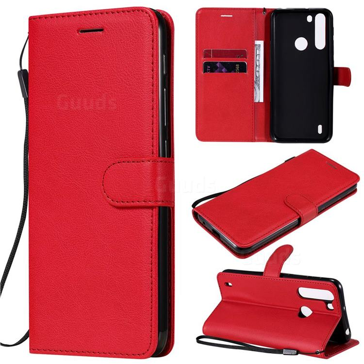 Retro Greek Classic Smooth PU Leather Wallet Phone Case for Motorola Moto One Fusion - Red