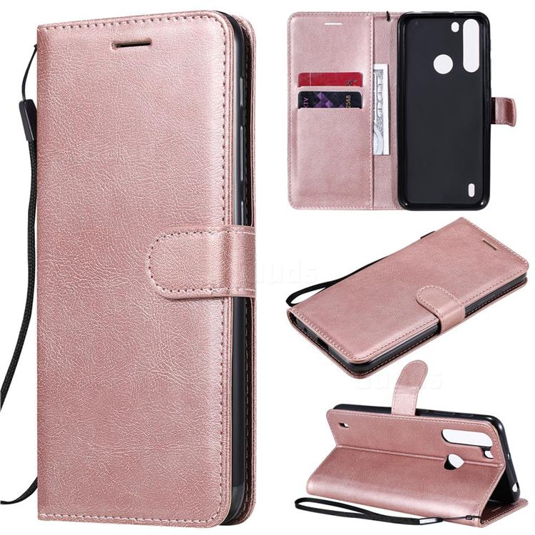 Retro Greek Classic Smooth PU Leather Wallet Phone Case for Motorola Moto One Fusion - Rose Gold