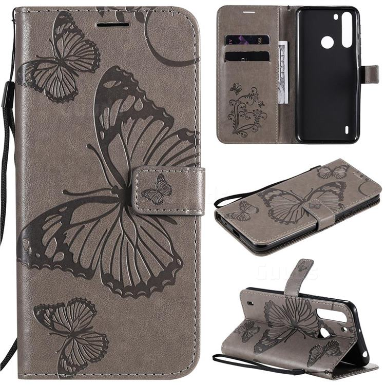 Embossing 3D Butterfly Leather Wallet Case for Motorola Moto One Fusion - Gray