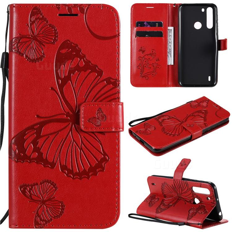 Embossing 3D Butterfly Leather Wallet Case for Motorola Moto One Fusion - Red
