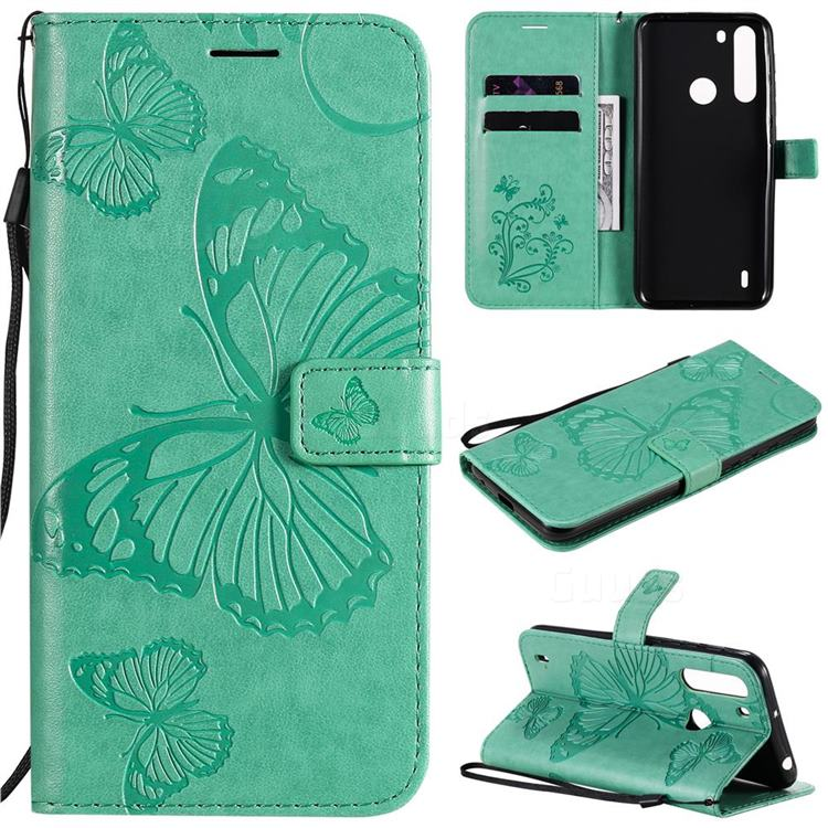 Embossing 3D Butterfly Leather Wallet Case for Motorola Moto One Fusion - Green