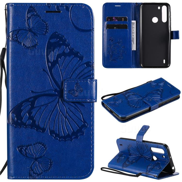 Embossing 3D Butterfly Leather Wallet Case for Motorola Moto One Fusion - Blue