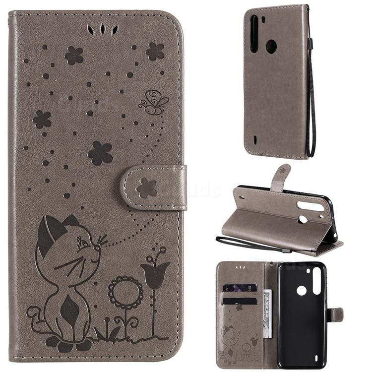 Embossing Bee and Cat Leather Wallet Case for Motorola Moto One Fusion - Gray
