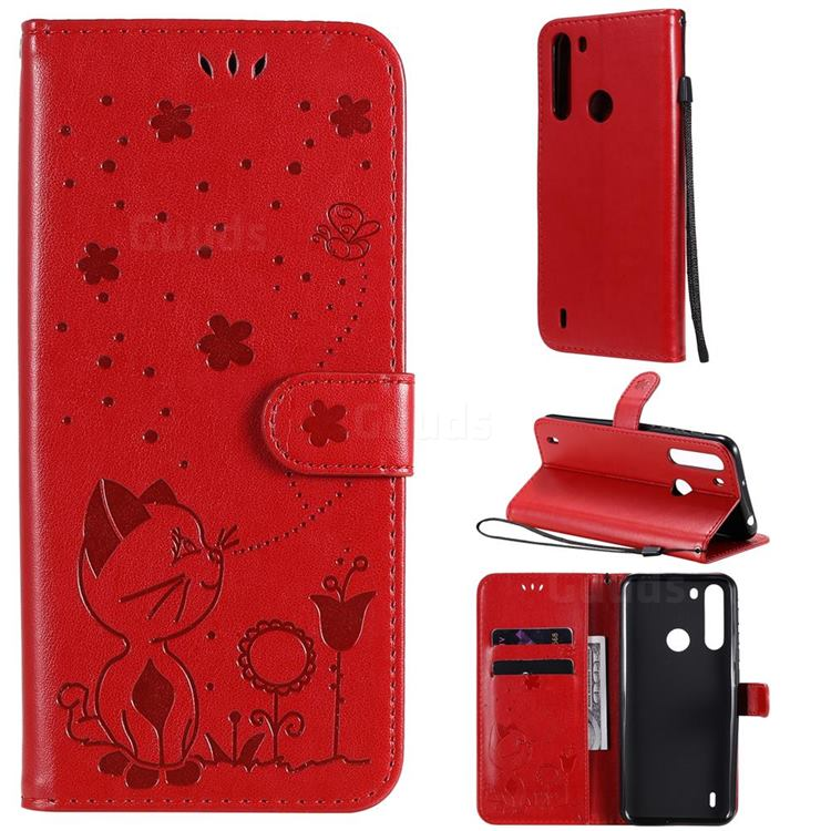 Embossing Bee and Cat Leather Wallet Case for Motorola Moto One Fusion - Red