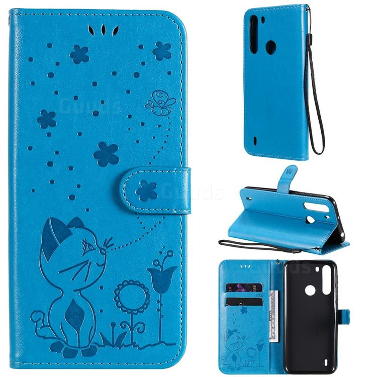 Embossing Bee and Cat Leather Wallet Case for Motorola Moto One Fusion - Blue