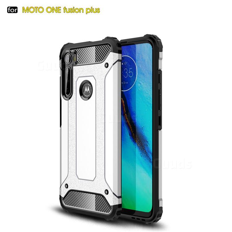 King Kong Armor Premium Shockproof Dual Layer Rugged Hard Cover for Motorola Moto One Fusion Plus - White