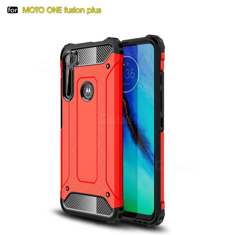 King Kong Armor Premium Shockproof Dual Layer Rugged Hard Cover for Motorola Moto One Fusion Plus - Big Red