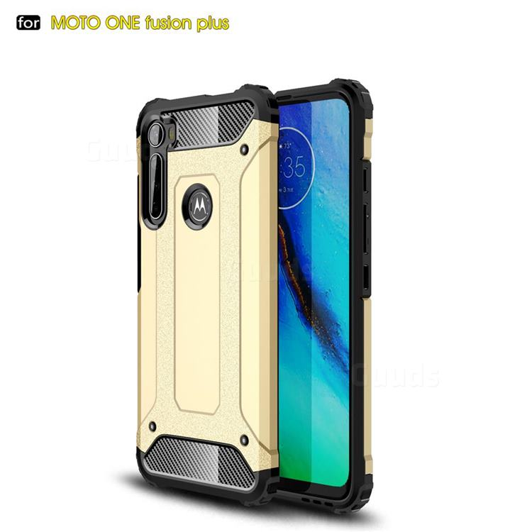 King Kong Armor Premium Shockproof Dual Layer Rugged Hard Cover for Motorola Moto One Fusion Plus - Champagne Gold