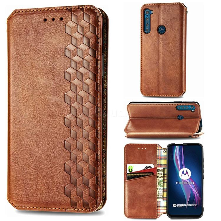Ultra Slim Fashion Business Card Magnetic Automatic Suction Leather Flip Cover for Motorola Moto One Fusion Plus - Brown
