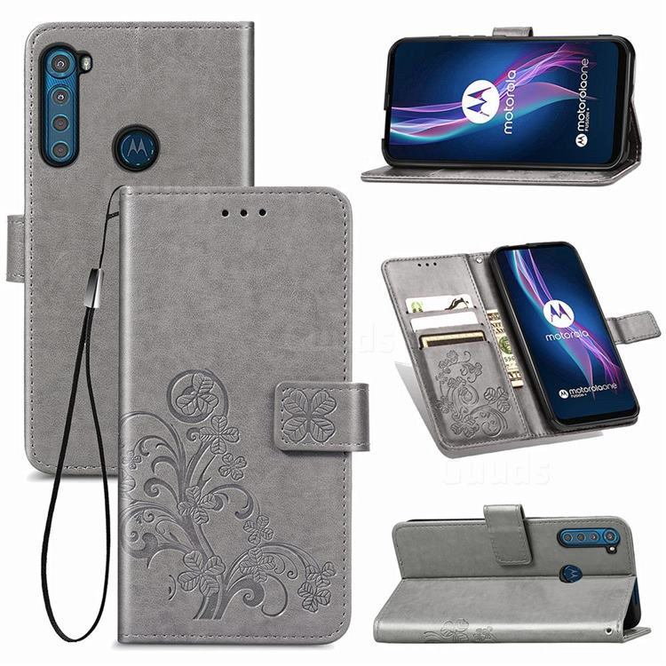 Embossing Imprint Four-Leaf Clover Leather Wallet Case for Motorola Moto One Fusion Plus - Grey