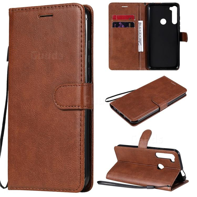 Retro Greek Classic Smooth PU Leather Wallet Phone Case for Motorola Moto One Fusion Plus - Brown