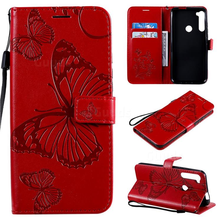 Embossing 3D Butterfly Leather Wallet Case for Motorola Moto One Fusion Plus - Red