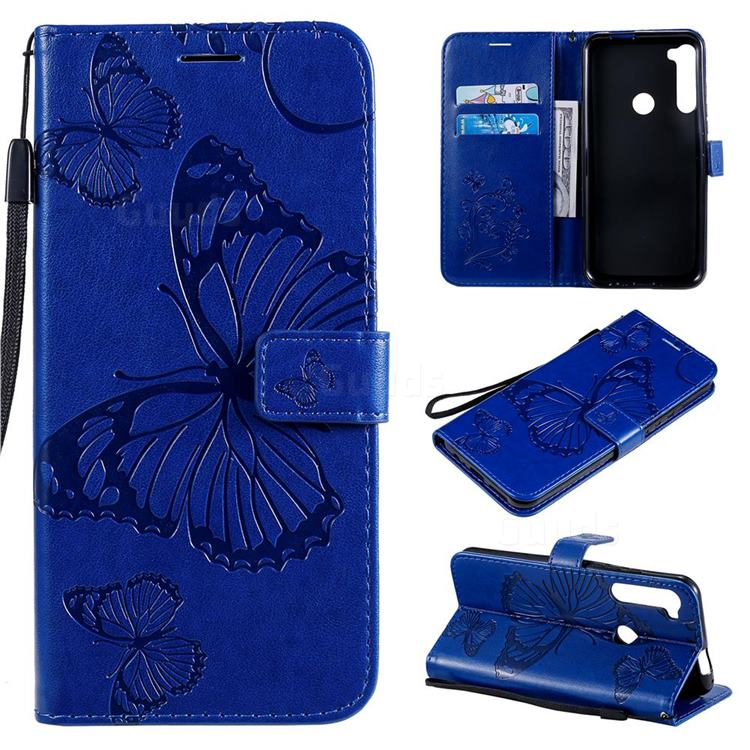 Embossing 3D Butterfly Leather Wallet Case for Motorola Moto One Fusion Plus - Blue