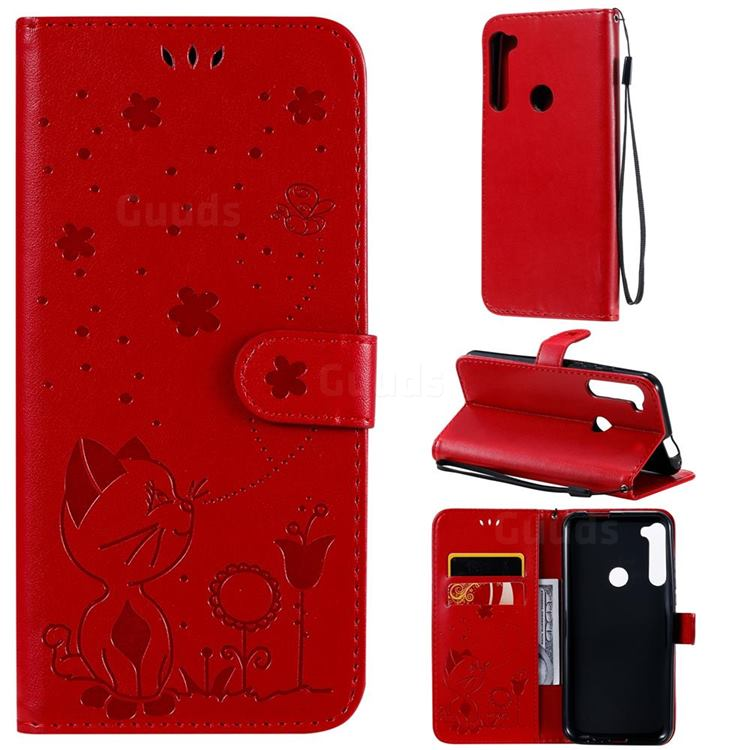 Embossing Bee and Cat Leather Wallet Case for Motorola Moto One Fusion Plus - Red