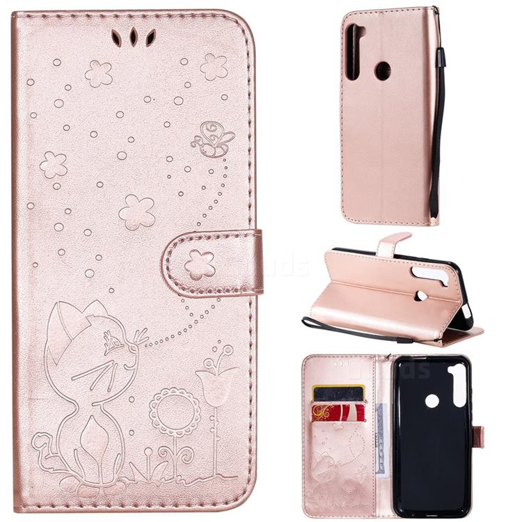 Embossing Bee and Cat Leather Wallet Case for Motorola Moto One Fusion Plus - Rose Gold