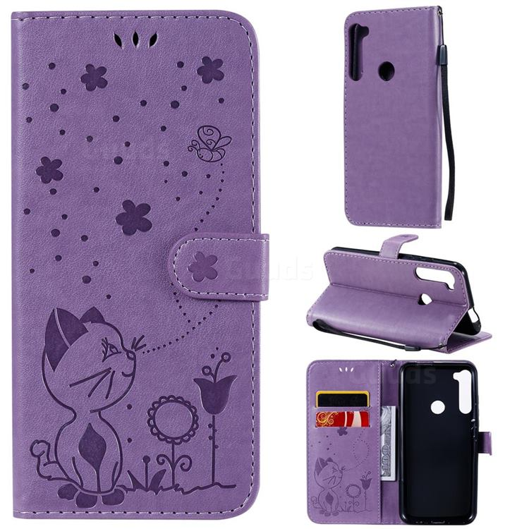 Embossing Bee and Cat Leather Wallet Case for Motorola Moto One Fusion Plus - Purple