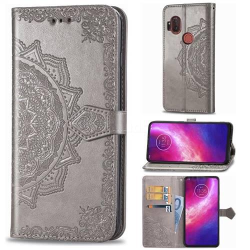 Embossing Imprint Mandala Flower Leather Wallet Case for Motorola One Hyper - Gray