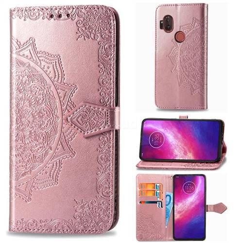 Embossing Imprint Mandala Flower Leather Wallet Case for Motorola One Hyper - Rose Gold