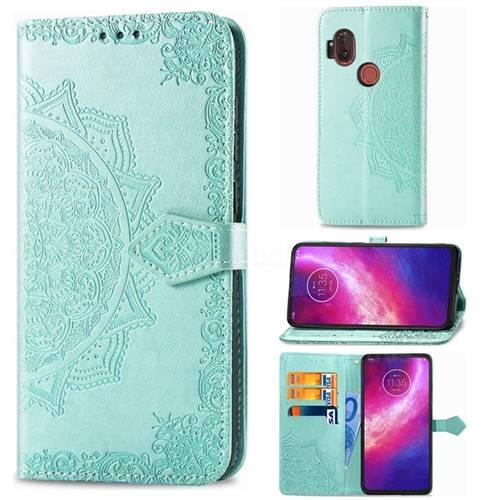 Embossing Imprint Mandala Flower Leather Wallet Case for Motorola One Hyper - Green