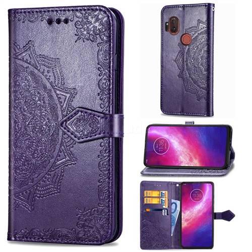 Embossing Imprint Mandala Flower Leather Wallet Case for Motorola One Hyper - Purple