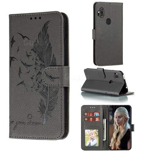 Intricate Embossing Lychee Feather Bird Leather Wallet Case for Motorola One Hyper - Gray