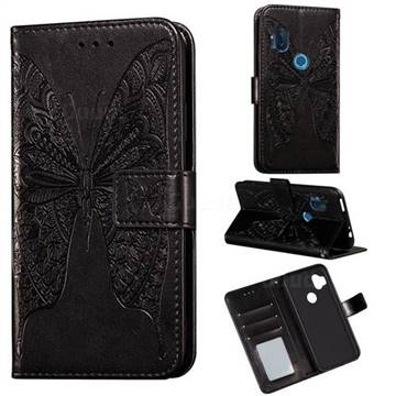 Intricate Embossing Vivid Butterfly Leather Wallet Case for Motorola One Hyper - Black
