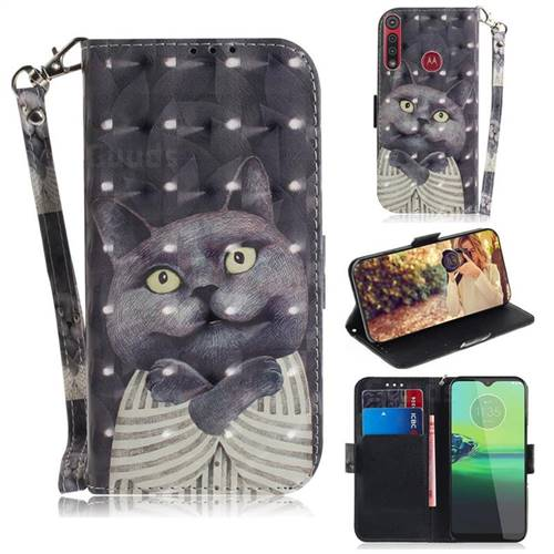 Cat Embrace 3D Painted Leather Wallet Phone Case for Motorola One Macro
